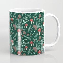 Cottagecore Yule Nature Pattern Green Coffee Mug