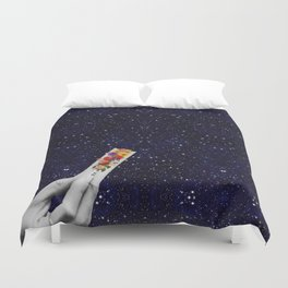 Rolling Flower in Space Duvet Cover