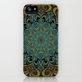 Teal and Gold Mandala Swirl iPhone Case