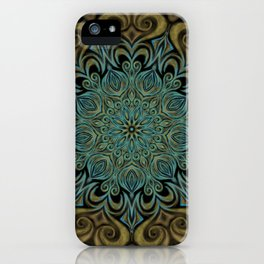 Teal and Gold Mandala Swirl iPhone Case