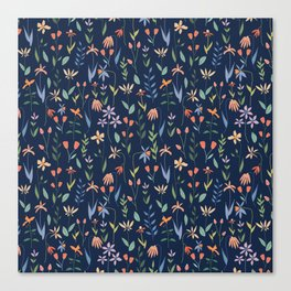 Wildflowers in the Air Navy Canvas Print