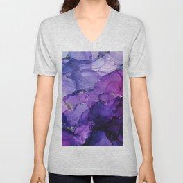 Violet Storm - Abstract Ink Unisex V-Neck
