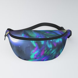 Northern landscape with howling wolf spirit and aurora borealis Fanny Pack