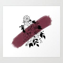 Flowers- Burgandy Art Print