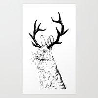 jackalope Art Prints featuring Jackalope by JChauvette