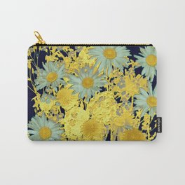 blue daisies and gold Carry-All Pouch