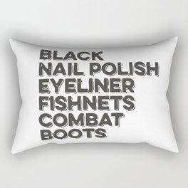 Black Nail Polish Eyeliner Fishnets Combat Boots Rectangular Pillow