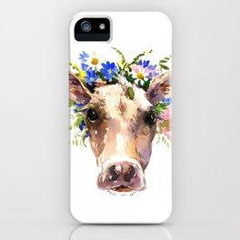 Cow Head, Floral Farm Animal Artwork farm house design, cattle iPhone Case