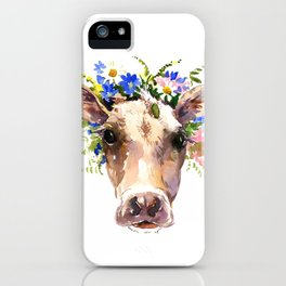 Cow Head, Floral Farm Animal Artwork farm house design, cattle iPhone Case