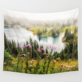 Mountain Lake Wildflowers Wall Tapestry