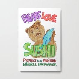 Bears Love Sushi Metal Print