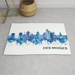 Des Moines Iowa Skyline Blue Rug