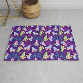 Roller Skates Pattern (Purple Background) Rug
