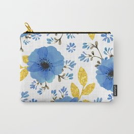 Blue flowers with golden leaves Carry-All Pouch