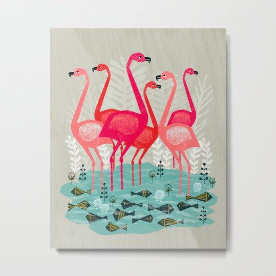 Flamingos by Andrea Lauren  Metal Print