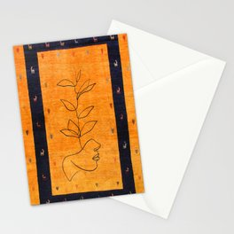 lady Lining Artwork with Traditional Moroccan Style Artwork Stationery Cards