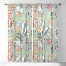 Rain forest animals 001 Sheer Curtain