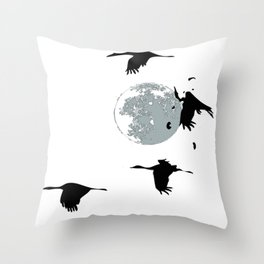 Storks and moon Throw Pillow