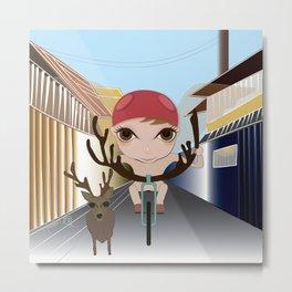 Deery Fairy Riding a Bike Metal Print