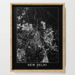 New Delhi Black Map Serving Tray