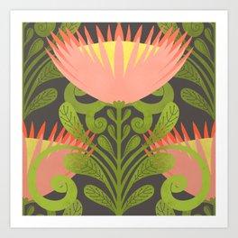 King Protea Flower Pattern - Gray Art Print