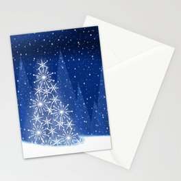 Snowy Night Christmas Tree Holiday Design Stationery Cards