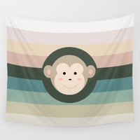 monkey Wall Tapestries featuring Monkey by artsimo