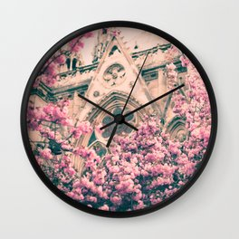 Paris, Notre dame details and cherry blossoms Wall Clock