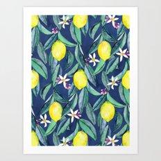 When Life Gives You Lemons - blue Art Print