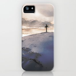 Christian Cross On Mountain iPhone Case