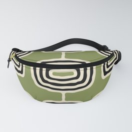 Mid Century Modern Atomic Rings Pattern 235 Black Beige and Olive Green Fanny Pack