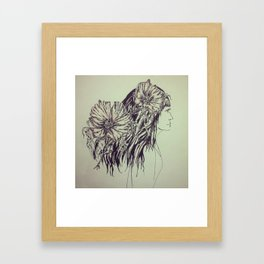 Girl with cosmos Framed Art Print