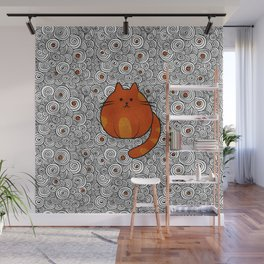 Cute Ginger Cat - Stained glass and swirls Wall Mural