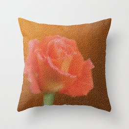 orange single rose bloom in small mosaic on a colored background of small hexagons Throw Pillow