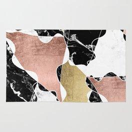 Modern white black marble rose gold foil color block handdrawn geometric lines Rug