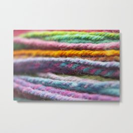 Close up of Colorful Handspun Yarn Metal Print