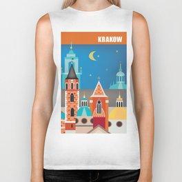 Krakow, Poland - Skyline Illustration by Loose Petals Biker Tank