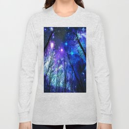 black trees purple blue space Long Sleeve T-shirt