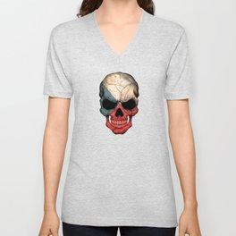 Dark Skull with Flag of Czech Republic Unisex V-Neck