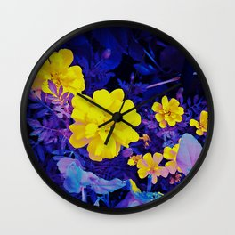 Little Yellow Flowers In Yellow Wall Clock