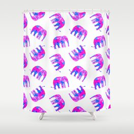 Watercolor Elephants in Bubblegum Pink + White Shower Curtain