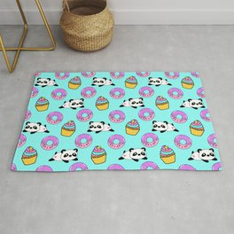 Cute funny Kawaii chibi little playful baby panda bears, happy sweet pink donuts and adorable colorful yummy cupcakes light pastel blue seamless pattern design. Nursery decor. Rug