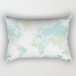 Mint and green floral world map with cities Rectangular Pillow