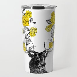 The Stag and Roses   Yellow Travel Mug