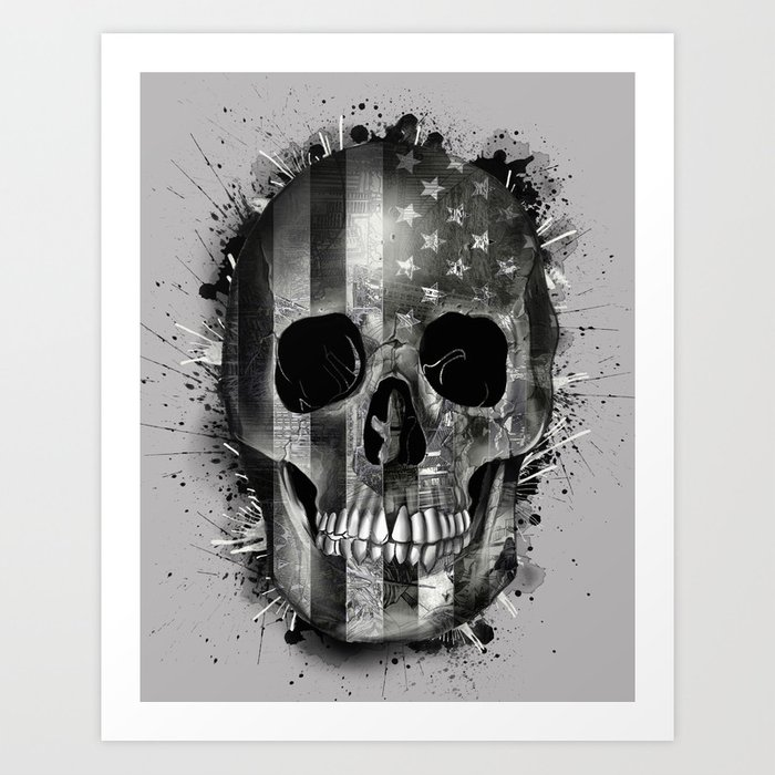 usa black and white skull Art Print