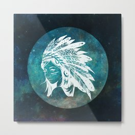 Moon Child Goddess Bohemian Girl Metal Print