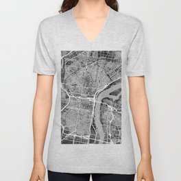Philadelphia Pennsylvania Street Map Unisex V-Neck