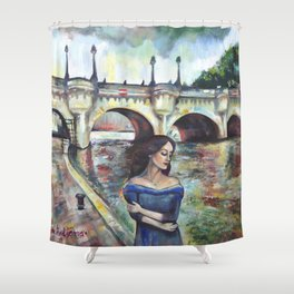 Under Paris skies. Shower Curtain