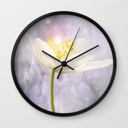 White Flower In The Forest Enchantments - Bokeh Background #decor #buyart #society6 Wall Clock