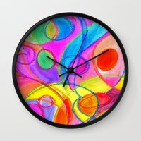 carnival Wall Clocks featuring Carnival by Dion Dior